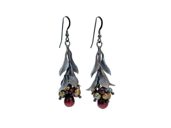 Pearls & Sterling Leaf Drop Earrings | Erica Zap Designs