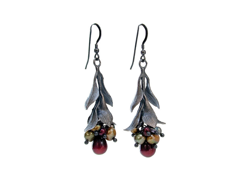 Pearls and Sterling Leaf Drop Earrings