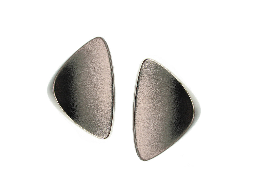Rhodium Curved Triangle Earrings | Erica Zap Designs
