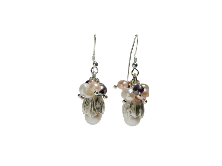 Pearls and Sterling Bud Earrings