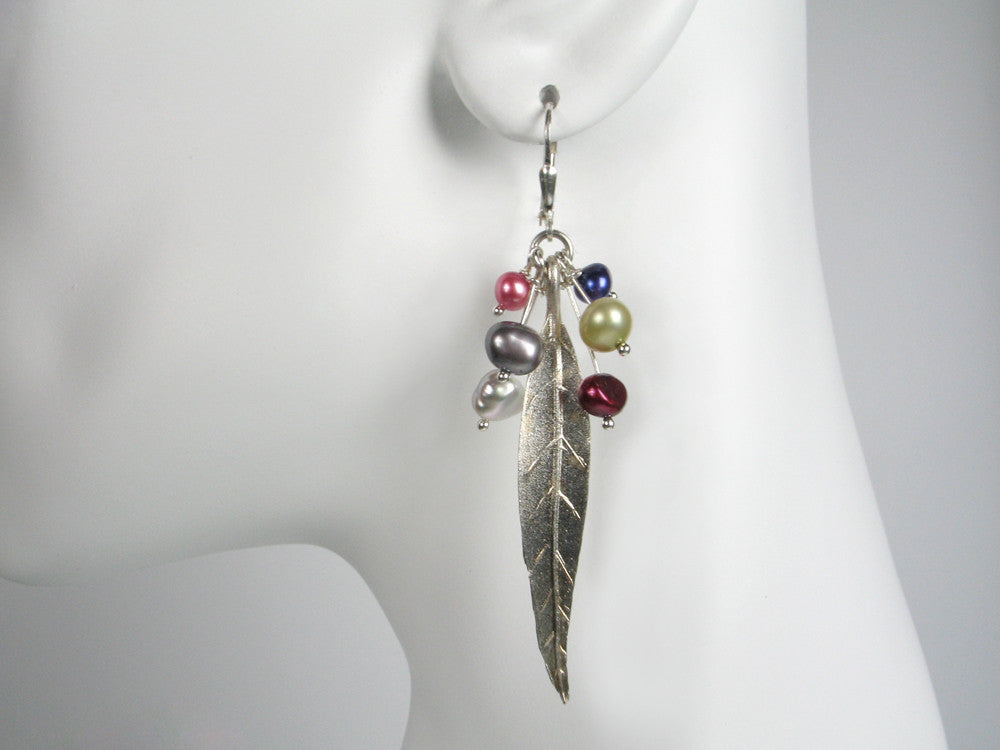 Sterling Feather & Pearl Drop Earrings