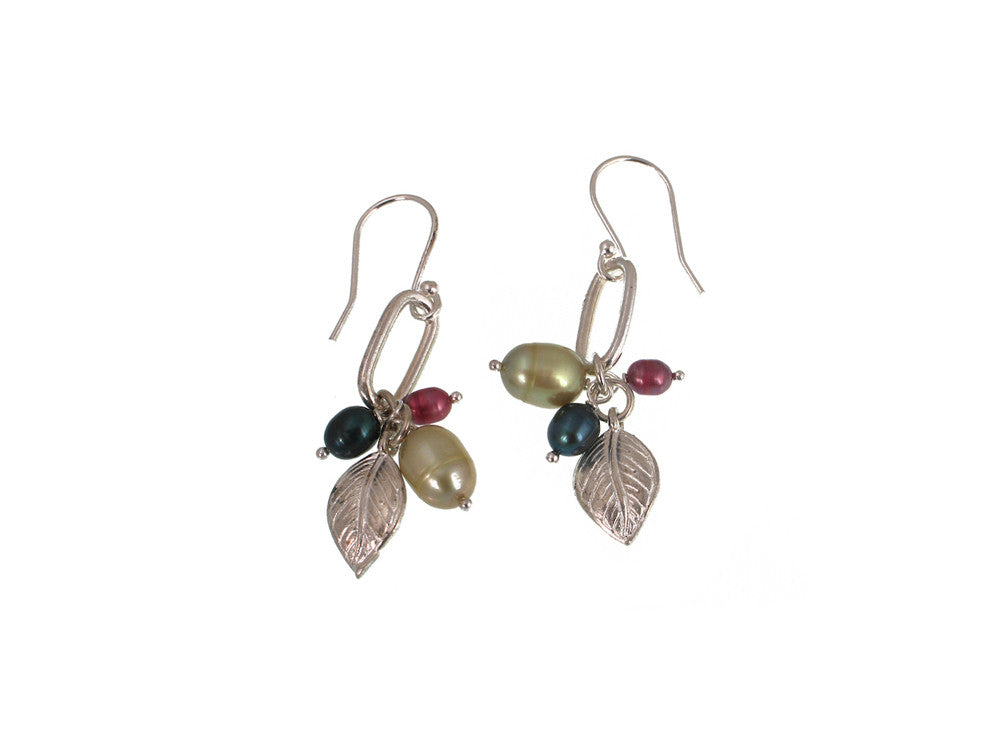 Leaf Pearl Cluster Earrings - Erica Zap Designs