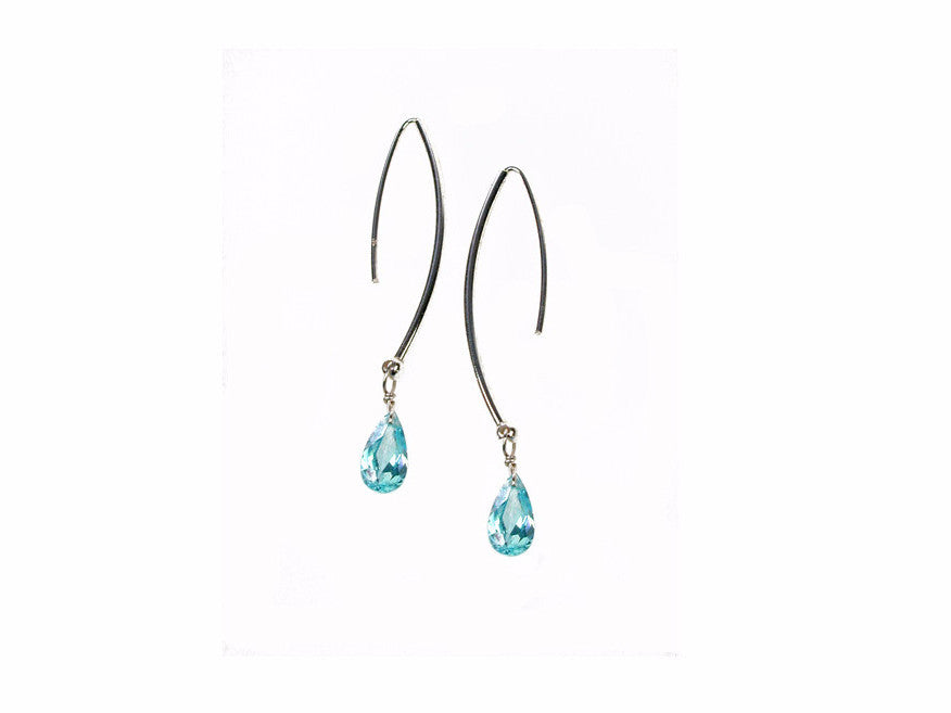 Sterling Wire Earrings with Small Crystal Drop | Erica Zap Designs