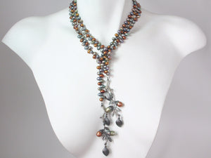 Pearl Lariat with Sterling Bud & Branch Ends | Erica Zap Designs