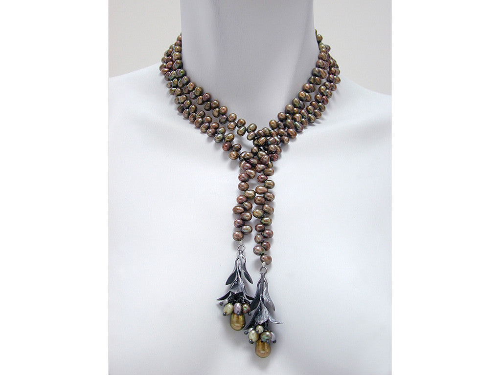 Pearl & Sterling Bud Lariat - Erica Zap Designs