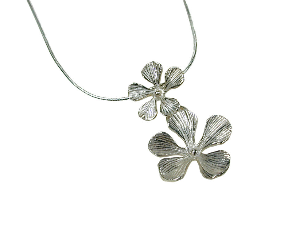Double Sterling 5-Petal Flower Pendant | Erica Zap Designs
