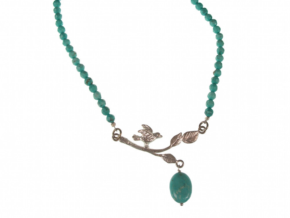 Turquoise Necklace with Sterling Bird on a Branch | Erica Zap Designs