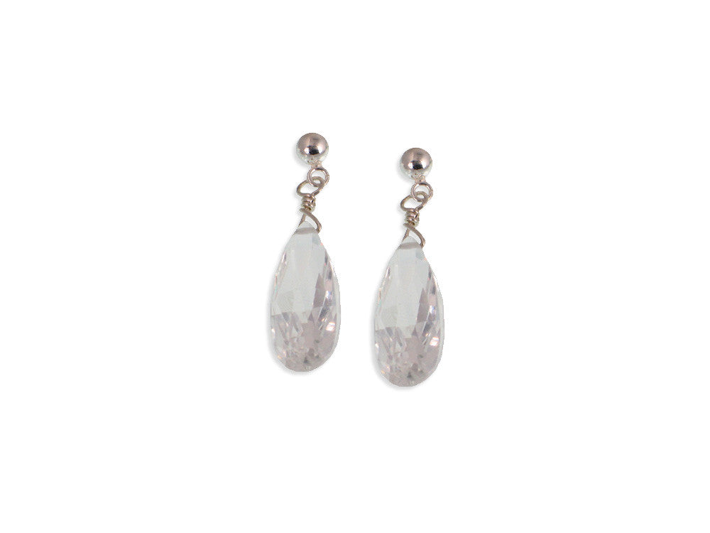Crystal Drop Earrings, 1"