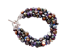 3-Strand Nugget Pearl & Stone Chip Bracelet - Erica Zap Designs