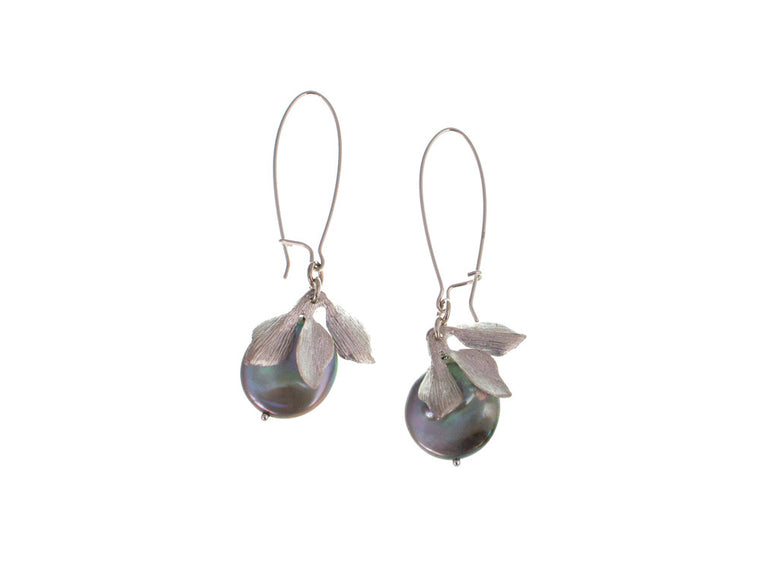 Leaf Coin Pearl Earrings - Erica Zap Designs