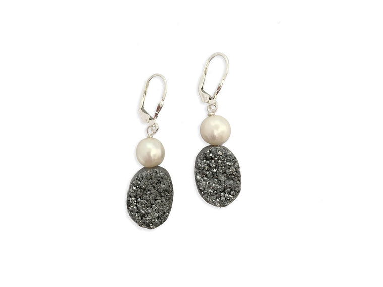 Druzy Quartz Pearl Earrings