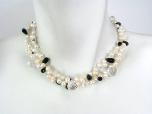2 Strand Crystal, Onyx and Pearl Necklace | Erica Zap Designs