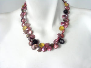 Coin Pearl & Stone Necklace