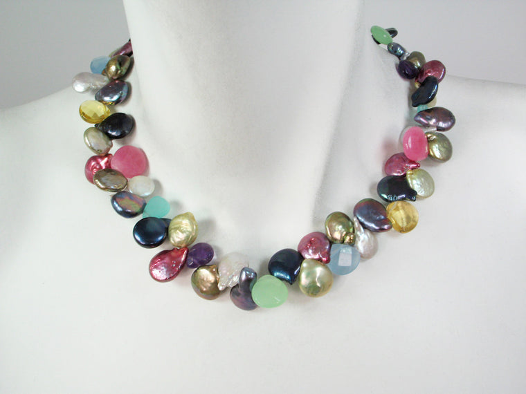 Coin Pearl & Stone Necklace - Erica Zap Designs