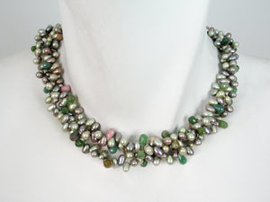 3-Strand Pearl & Stone Necklace | Erica Zap Designs