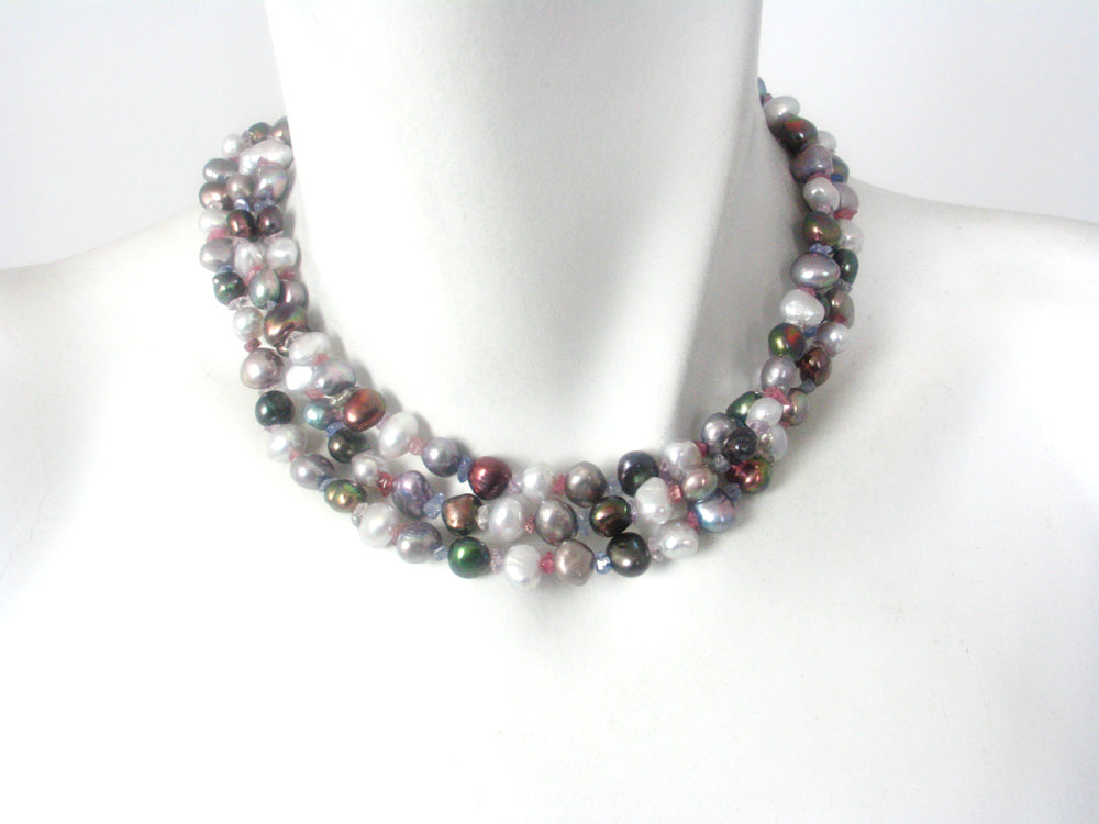 Long Pearl  and Semi Precious Stone Necklace
