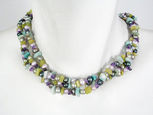 3-Strand Nugget Pearl & Stone Chip Necklace | Erica Zap Designs