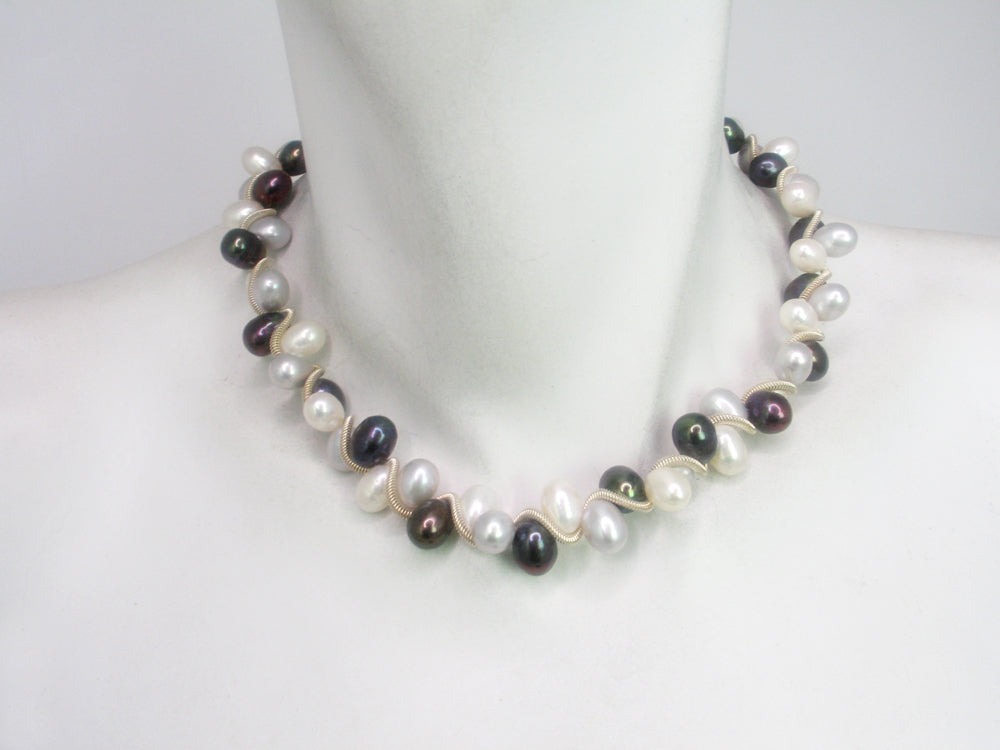 Large Pearl Spiral Necklace