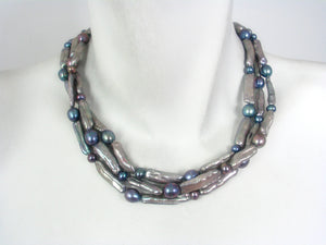 3 Strand Bar Pearl Necklace | Erica Zap Designs