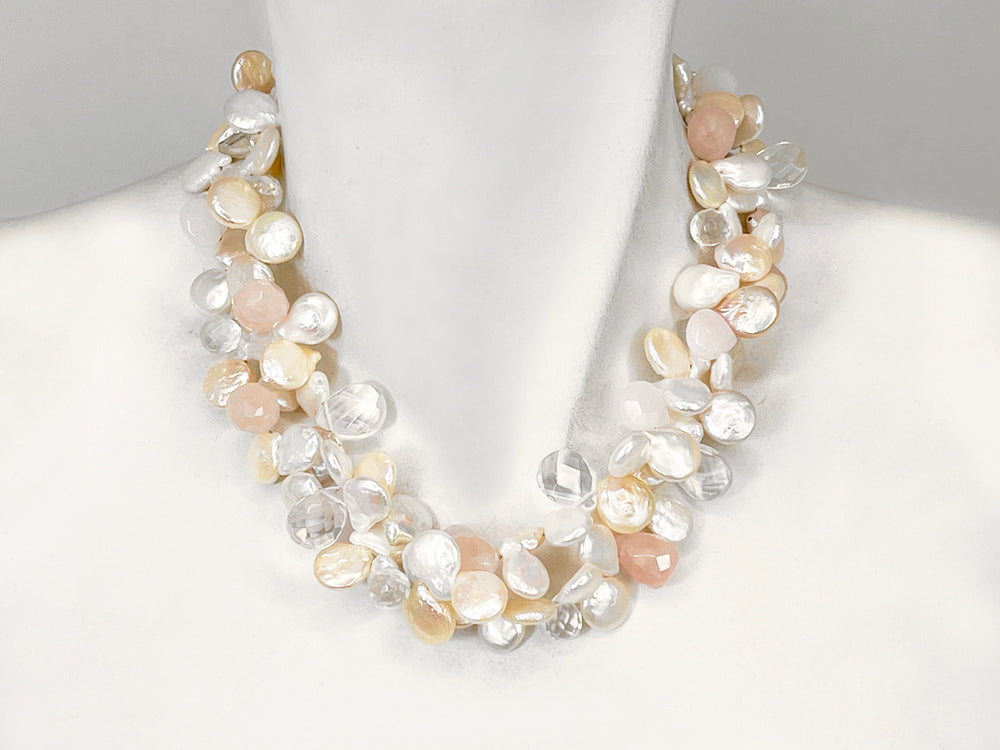 2-Strand Coin Pearl & Stone Necklace