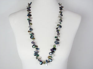 Long Coin Pearl & Stone Necklace | Erica Zap Designs