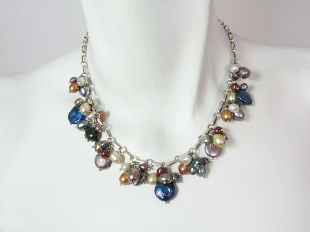 Coin Pearl Cluster Necklace - Erica Zap Designs