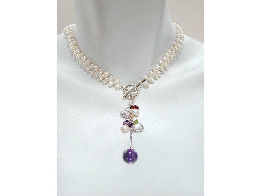 Pearl and Stone Drop Necklace | Erica Zap Designs
