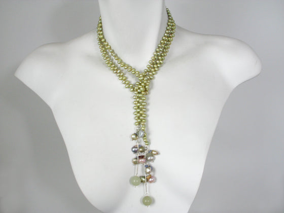 Pearl and Stone Drop Lariat | Erica Zap Designs