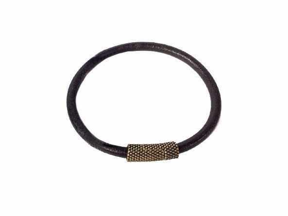 Men's Leather Bracelet with Textured Magnetic Clasp - Erica Zap Designs