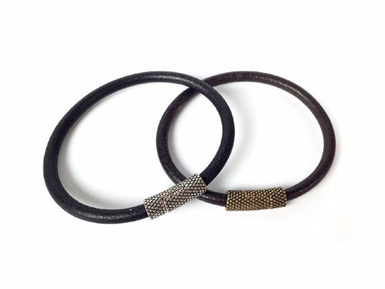 Leather Bracelet with Textured Magnetic Clasp - Erica Zap Designs