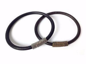 Men's Leather Bracelet | Thin Textured Magnetic Clasp | Erica Zap Designs