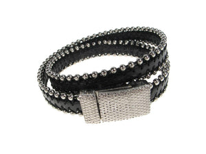 Beaded Leather Bracelet | Double Wrap with Magnetic Clasp | Erica Zap Designs