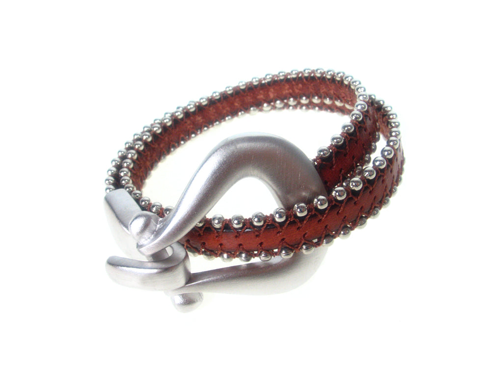 Beaded Leather Bracelet | Double Wrap with Horseshoe  Clasp