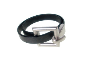 Flat Leather Bracelet | Square Hook Clasp Double Wrap | Erica Zap Designs