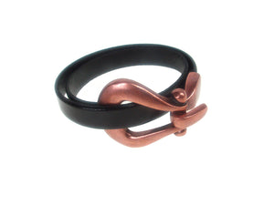 Double Wrap Flat Leather Bracelet | Horseshoe Hook Clasp | Erica Zap Designs