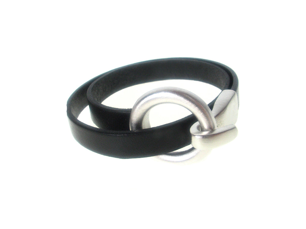 Flat Leather Bracelet | Round Hook Clasp Double Wrap