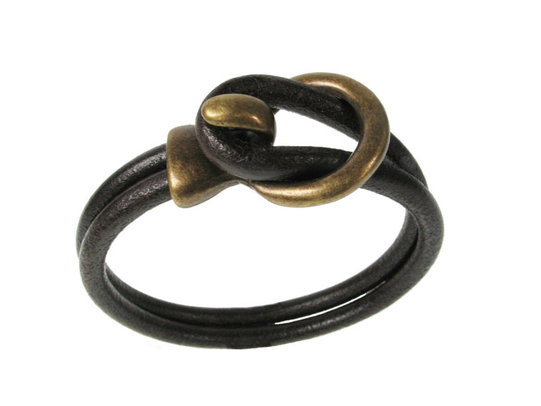 Men's Leather Bracelet with Circle Hook - Erica Zap Designs
