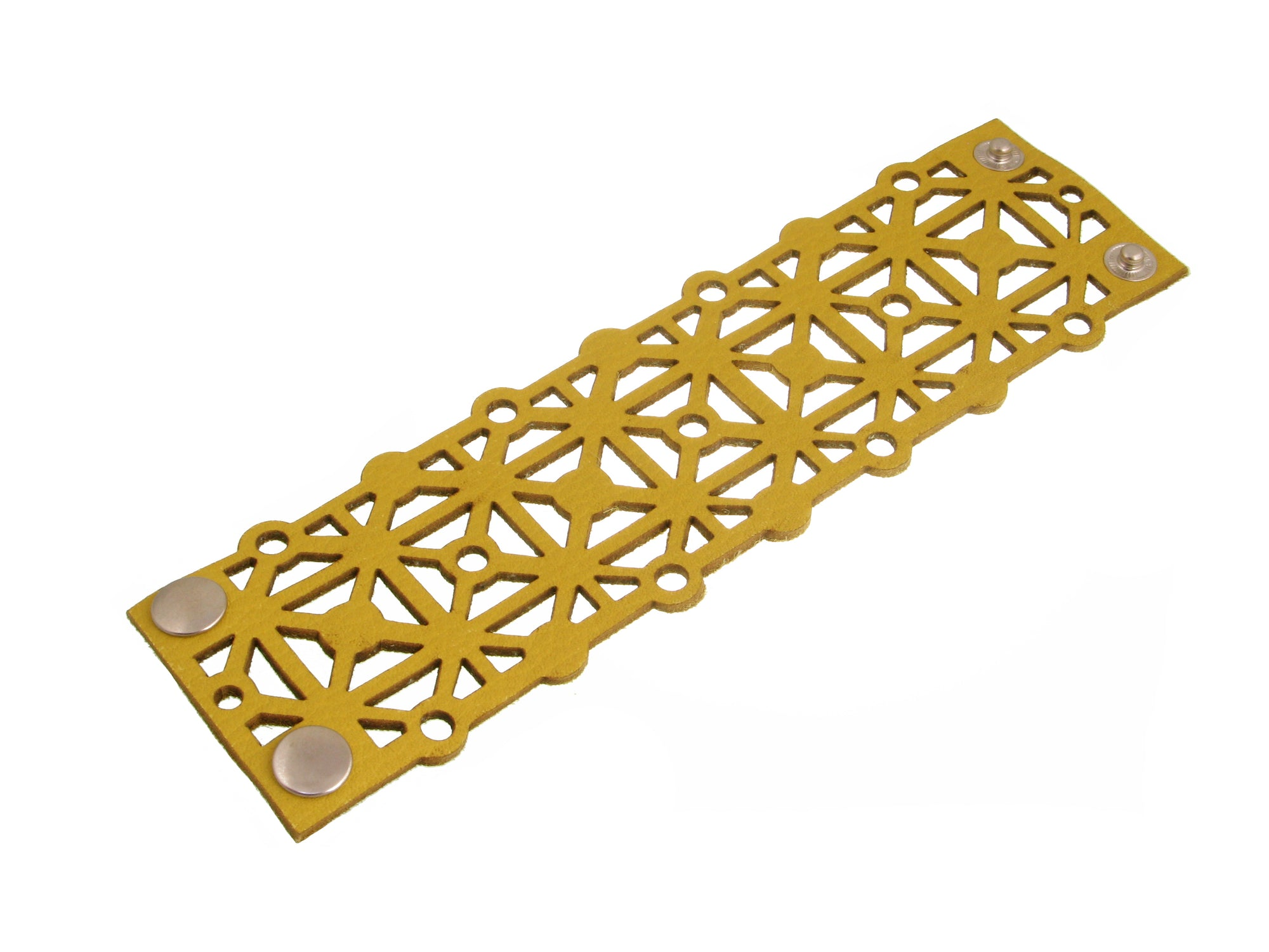 Laser Cut Leather Bracelet | Geometric X Pattern