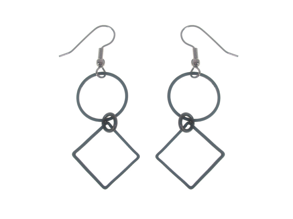 Circle and Square Earrings