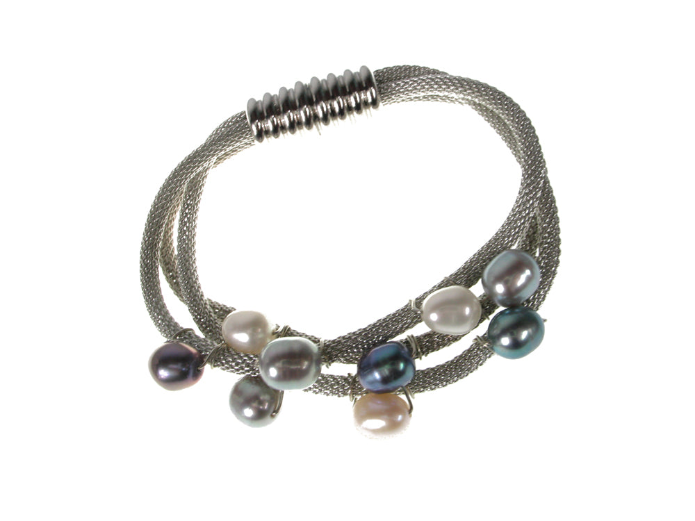 3-Strand Mesh Bracelet with Freshwater Pearls | Erica Zap Designs