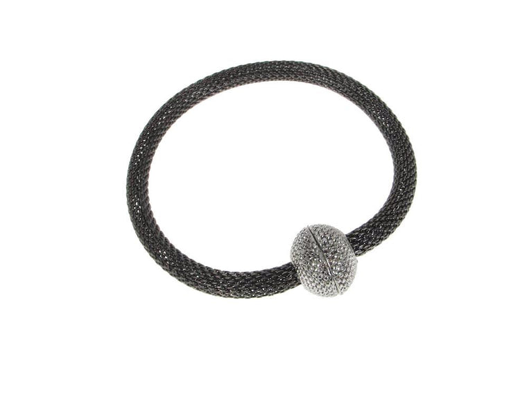 Mesh Bracelet with Textured Magnetic Ball Clasp | Erica Zap Designs