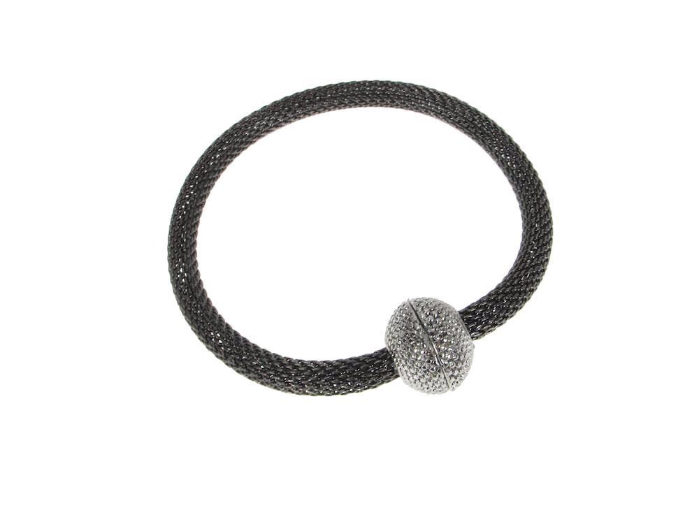 Mesh Bracelet with Textured Magnetic Ball Clasp