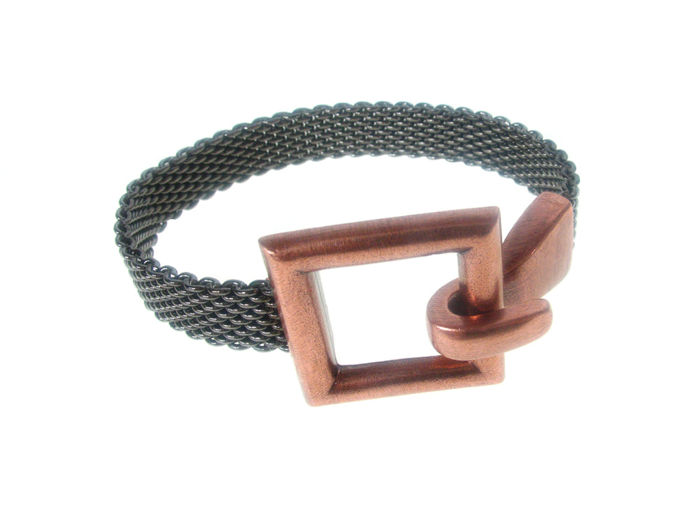 Flat Mesh Bracelet with Open Square Hook Clasp | Erica Zap Designs