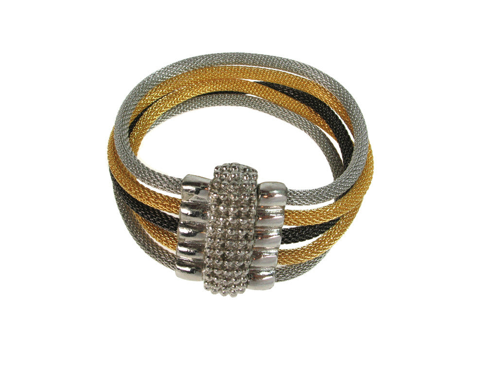 5-Strand Mesh Bracelet with Bead Textured Magnetic Clasp - Erica Zap Designs