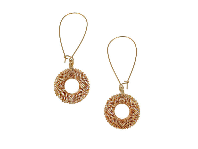 Circle Mesh Drop Earrings on Kidney Wire | Erica Zap Designs