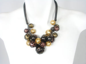 Mesh Necklace with Multi Color Metal Beads