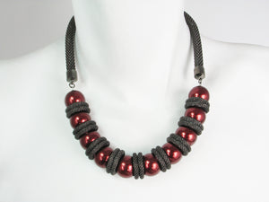 Mesh Necklace with Cranberry Pearls | Erica Zap Designs