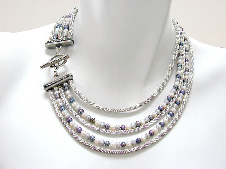 Graduated 5-Strand Mesh & Pearl Necklace