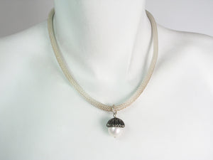 Acorn Pearl Drop Mesh Necklace | Erica Zap Designs