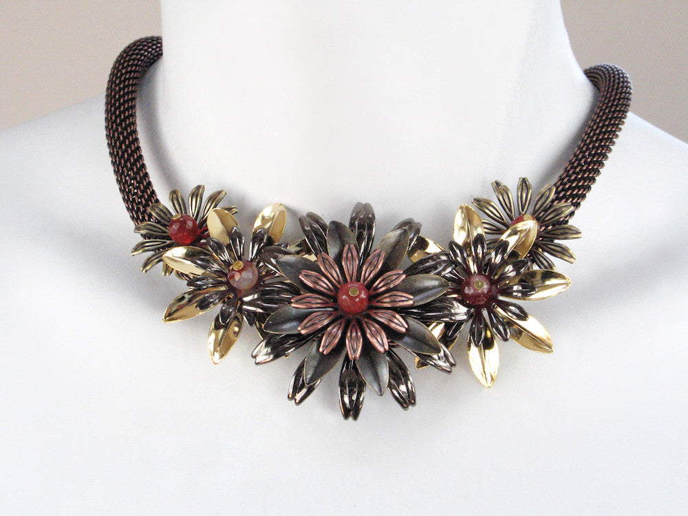Multi Flower Thick Mesh Necklace - Erica Zap Designs